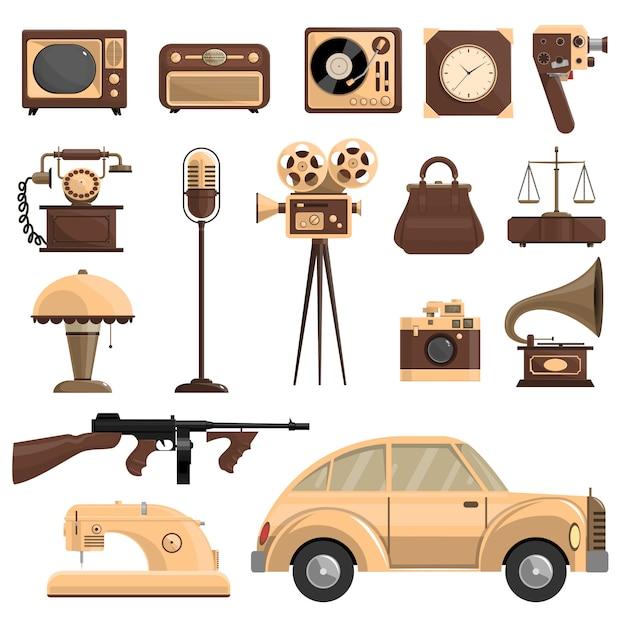 Conjunto de objetos retrô Vetor grátis