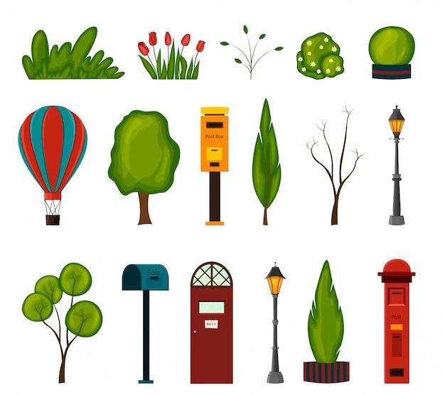 Conjunto de objetos urbanos para o seu sobre um fundo branco. estilo dos desenhos animados. ilustração. Vetor Premium