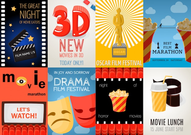 Conjunto de oito cartazes de cinema Vetor grátis