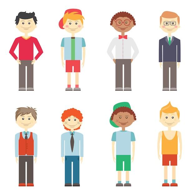 Conjunto de oito meninos sorridentes de vetor colorido diferente em roupas esportivas e elegantes casuais, com diversos estilos de cabelo e etnias Vetor grátis