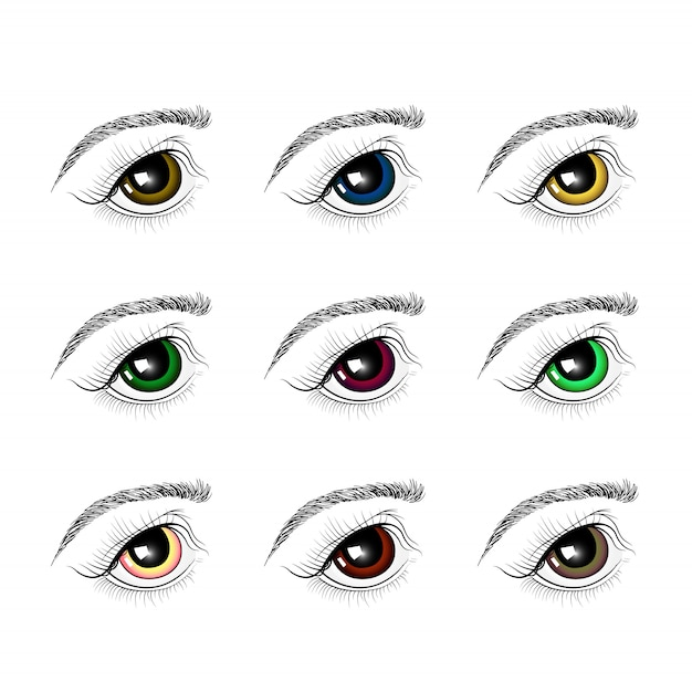 Conjunto de olhos de cores diferentes Vetor Premium