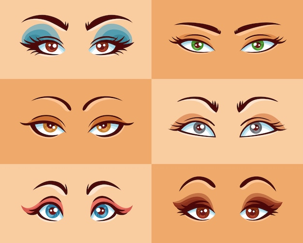 Conjunto de olhos de mulheres Vetor grátis