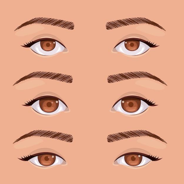 Conjunto de olhos humano pop art isolado vector illustration design Vetor Premium