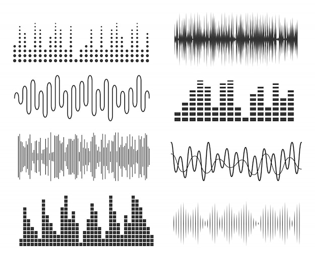 Conjunto de ondas sonoras de música. pulso musical de tecnologia de áudio ou gráficos de som. equalizador de forma de onda de música Vetor Premium