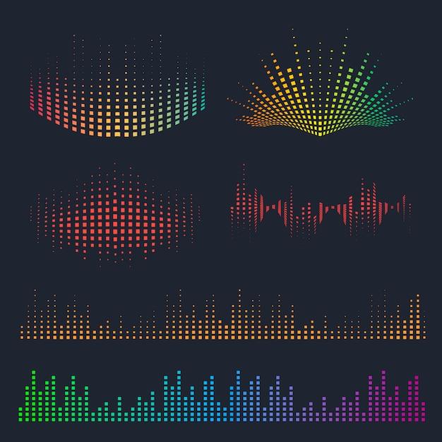 Conjunto de ondas sonoras de vetor. música elementos coloridos para seu projeto. Vetor Premium