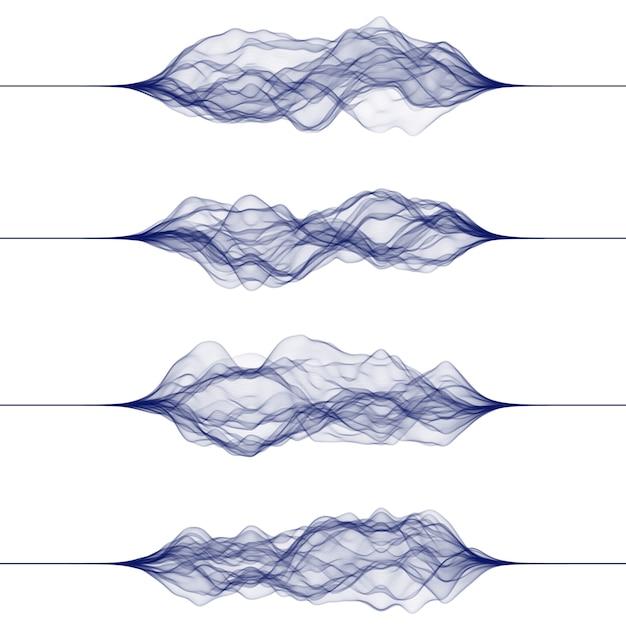Conjunto de ondas sonoras feitas por linhas. Vetor Premium