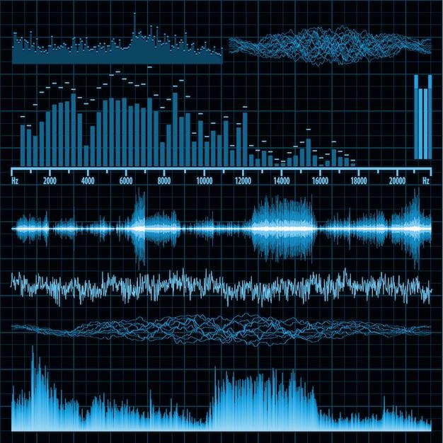 Conjunto de ondas sonoras. fundo de música. Vetor Premium