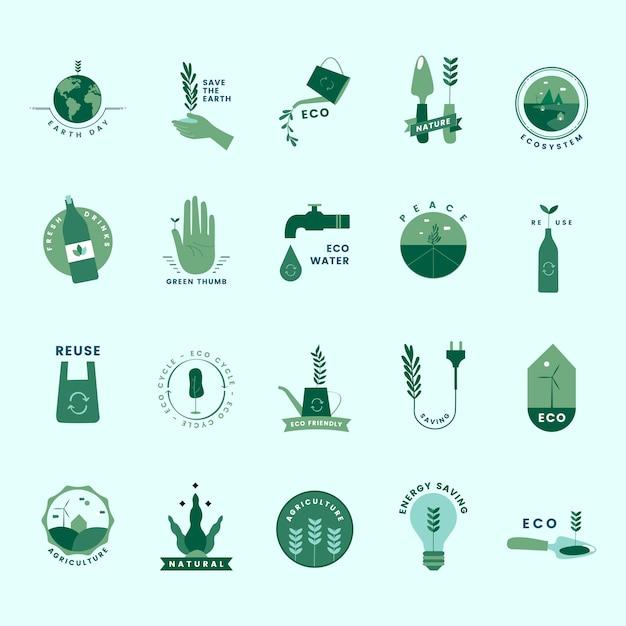 Conjunto de orgânicos e ir ícones verdes Vetor grátis