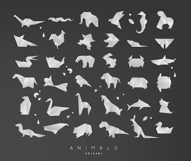 Conjunto de origami de animais Vetor Premium