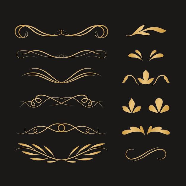 Conjunto de ornamento caligráfico dourado Vetor grátis