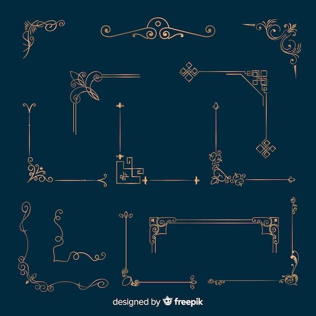 Conjunto de ornamento de borda dourada Vetor grátis