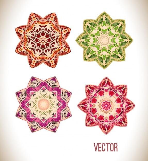 Conjunto de ornamento de mandala Vetor Premium