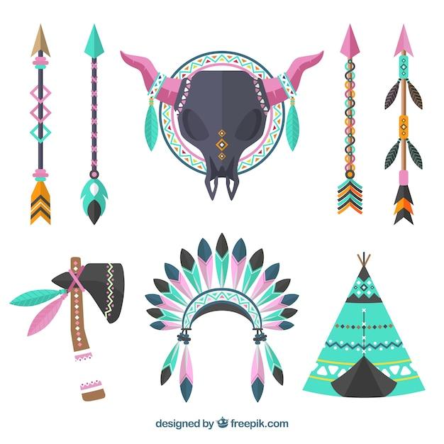 Conjunto de ornamentos boho Vetor grátis