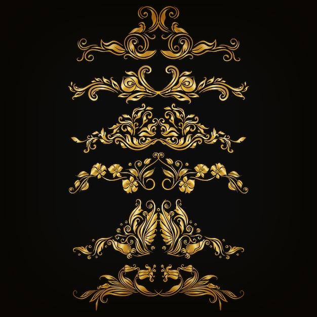 Conjunto de ornamentos de damasco de vetor. Vetor Premium