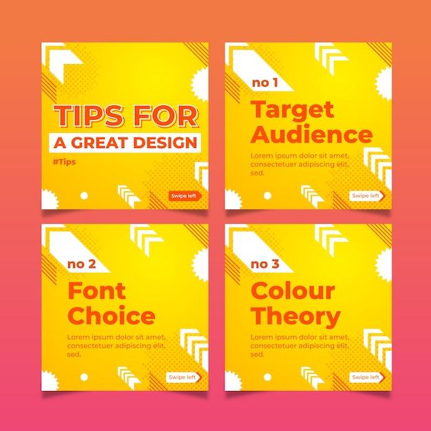 Conjunto de ótimas dicas de design nas postagens do instagram Vetor grátis