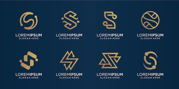 Conjunto de ouro da letra s do monograma criativo. template.icons de logotipo para negócios, luxo, tecnologia, inspiração Vetor Premium