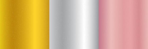 Conjunto de ouro metálico, rosa, prata fundo gradiente Vetor Premium