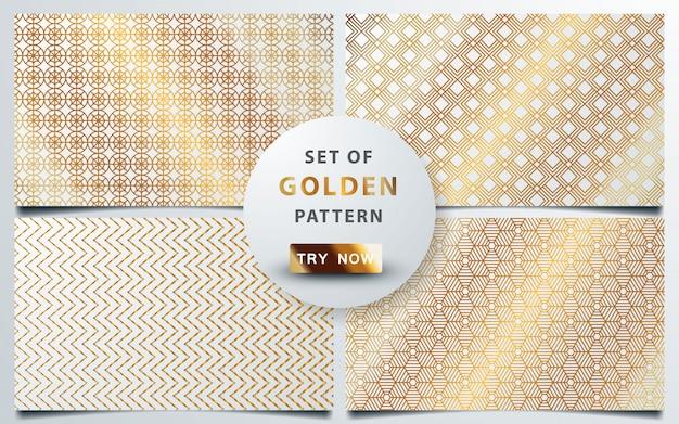 Conjunto de ouro sem costura padrão geométrico Vetor Premium