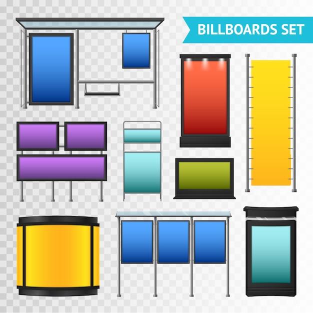 Conjunto de outdoors promocionais coloridos Vetor grátis