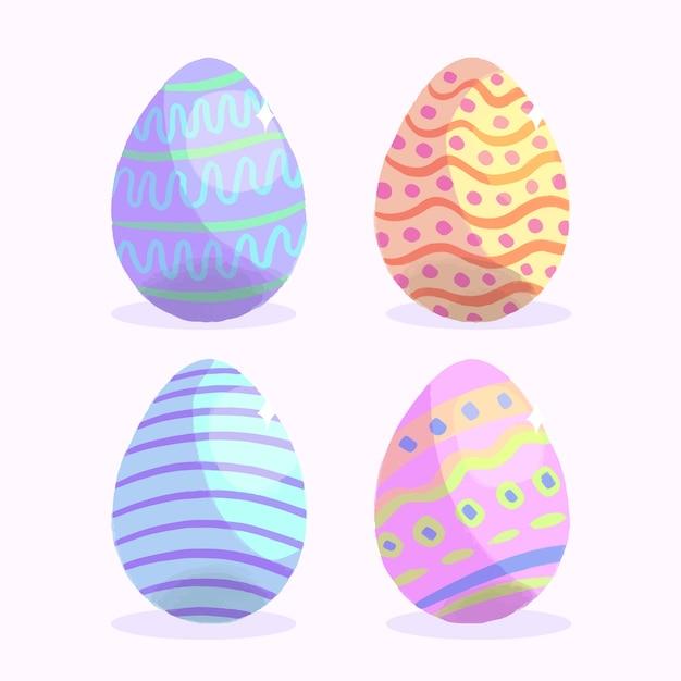 Conjunto de ovo de páscoa em aquarela Vetor grátis