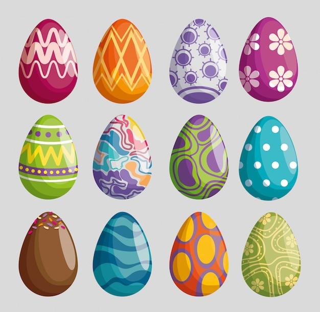 Conjunto de ovos com decoração de figuras para a celebração da páscoa Vetor grátis
