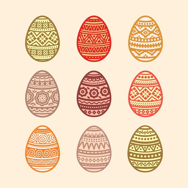Conjunto de ovos de páscoa coloridos. ilustração em design plano. Vetor Premium