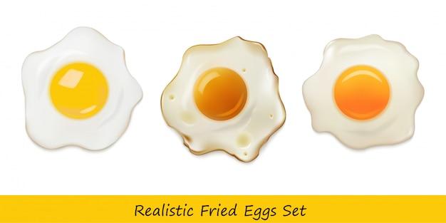 Conjunto de ovos fritos realista Vetor Premium