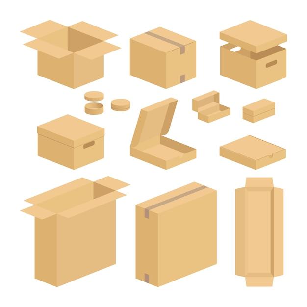 Conjunto de pacote da caixa da caixa Vetor Premium