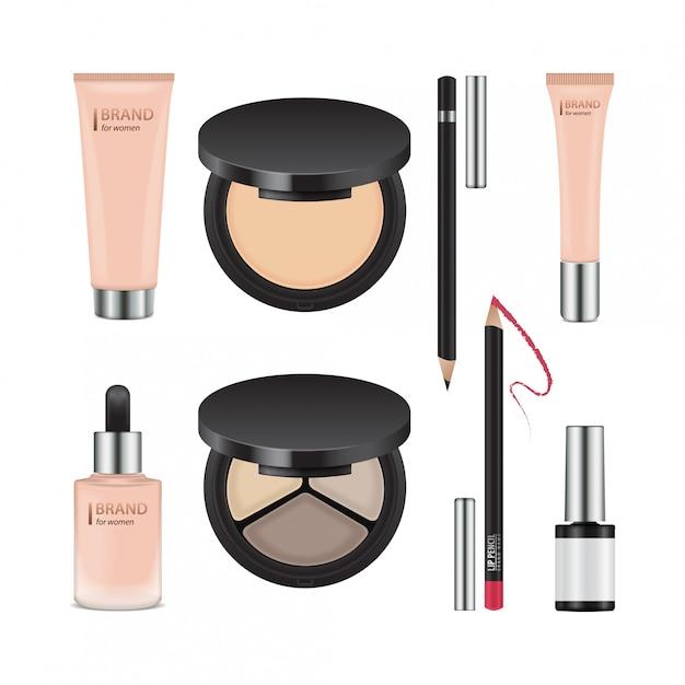 Conjunto de pacotes realistas para cosméticos decorativos. modelo de recipientes para sombra para os olhos, pó, esmalte, corretivo, creme Vetor Premium