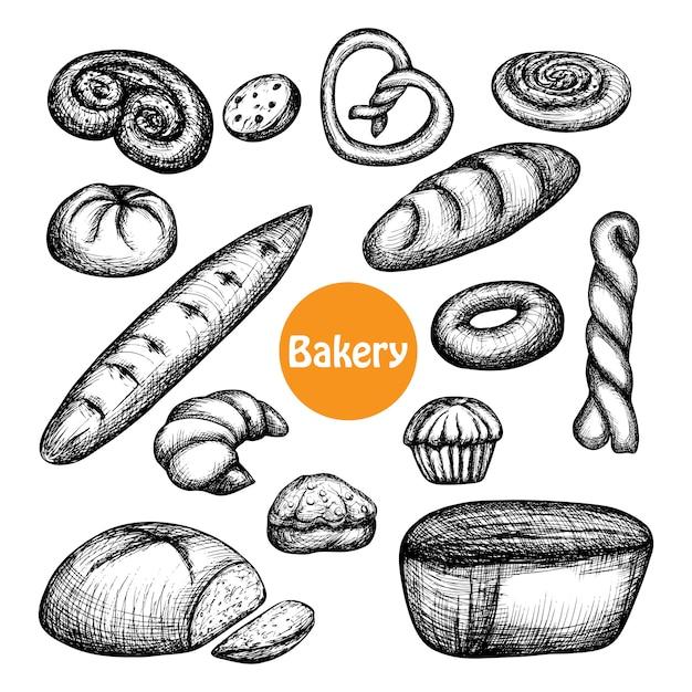 Conjunto de padaria de mão desenhada Vetor grátis