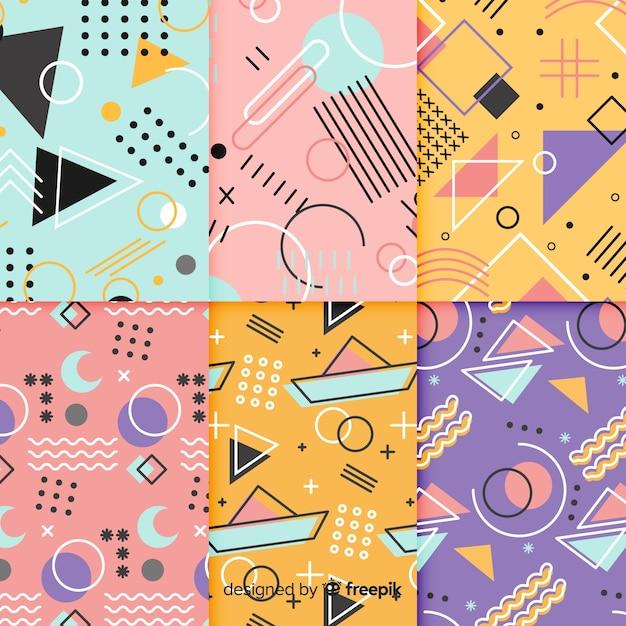Conjunto de padrão colorido de memphis Vetor grátis