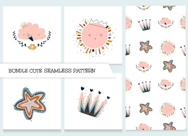 Conjunto de padrão de animais planos de desenho animado de coleção fofa Vetor Premium