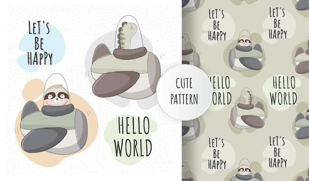 Conjunto de padrão de bebê fofo e plano Vetor Premium