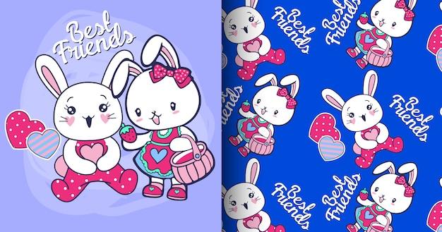 Conjunto de padrão de coelho cute mão desenhada Vetor Premium