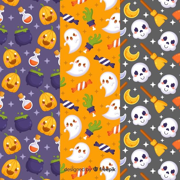 Conjunto de padrão de elementos de halloween Vetor grátis