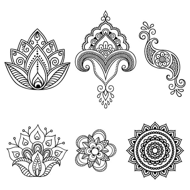 Conjunto de padrão de flor mehndi e mandala para desenho e tatuagem de henna. decoração em estilo étnico oriental, indiano. ornamento do doodle. Vetor Premium