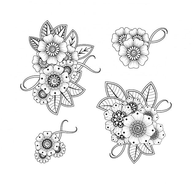 Conjunto De Padrao De Flor Mehndi Para Desenho E Tatuagem De Hena