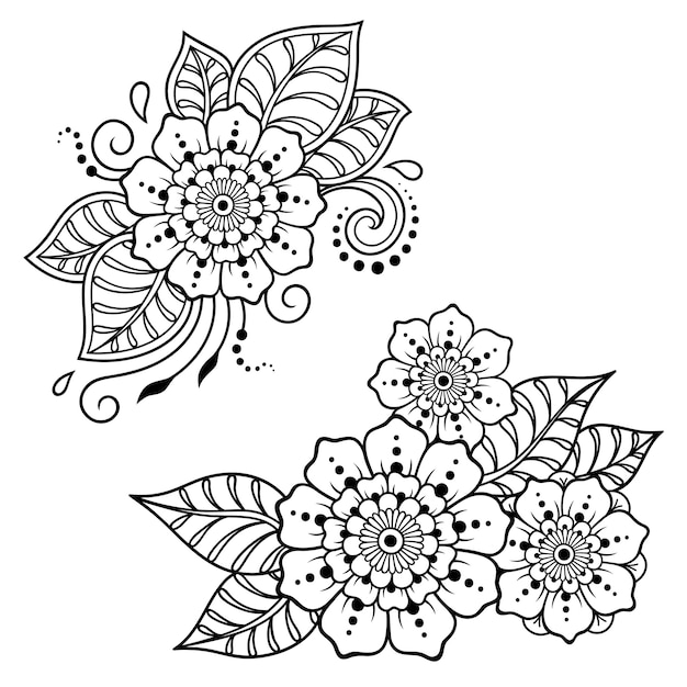Conjunto De Padrao De Flor Mehndi Para Desenho E Tatuagem De Henna