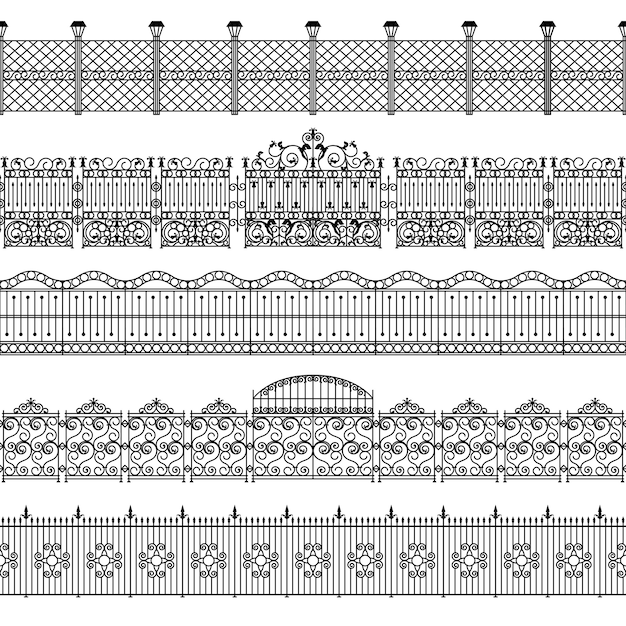 Conjunto de padrão de fronteira de cercas Vetor grátis