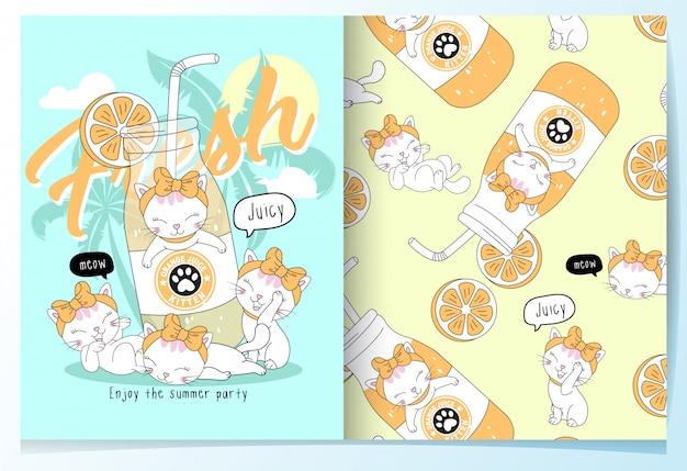 Conjunto de padrão de gatos bonitos desenhados a mão Vetor Premium