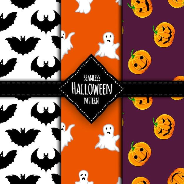 Conjunto de padrão de halloween. estilo dos desenhos animados. Vetor Premium