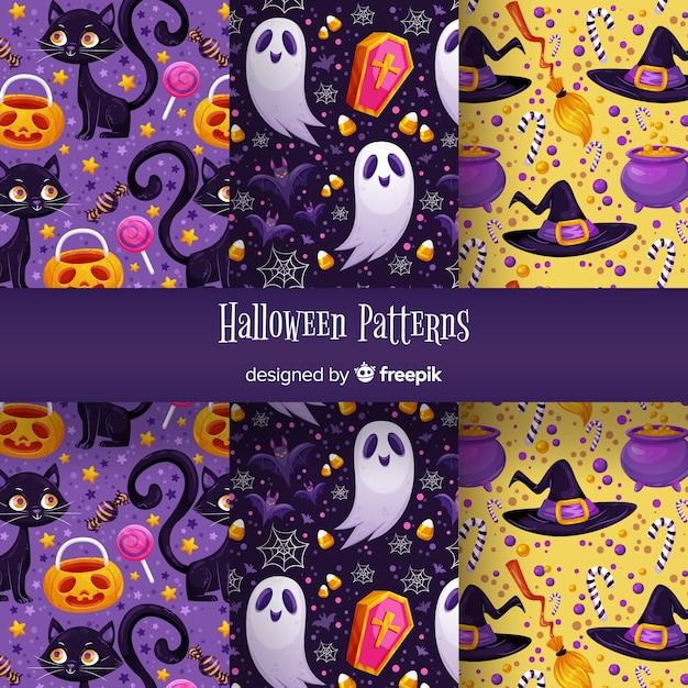 Conjunto de padrão de halloween fofo Vetor grátis