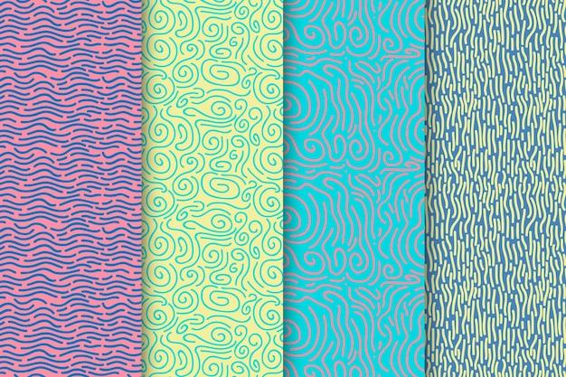 Conjunto de padrão de linhas arredondadas Vetor grátis