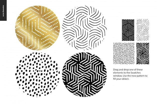 Conjunto de padrão de mão desenhada Vetor Premium
