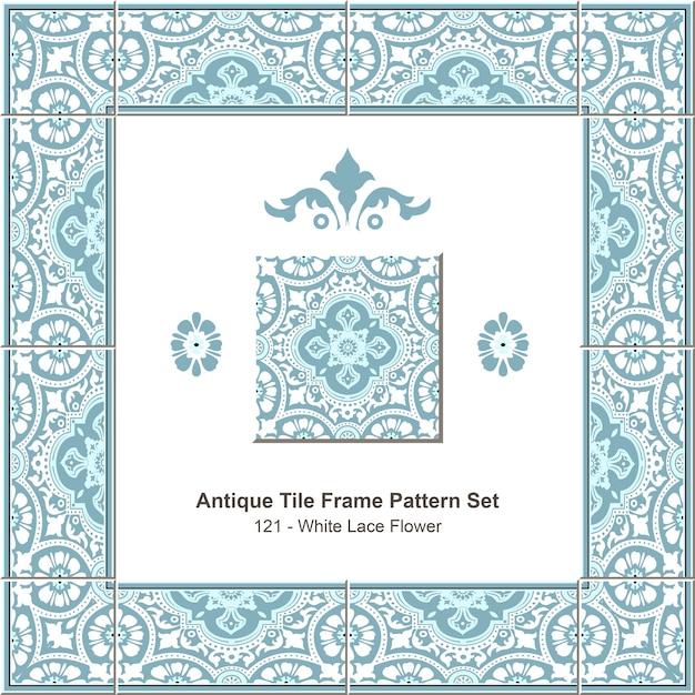 Conjunto de padrão de moldura de azulejo antigo elegante flor de renda branca azul Vetor Premium