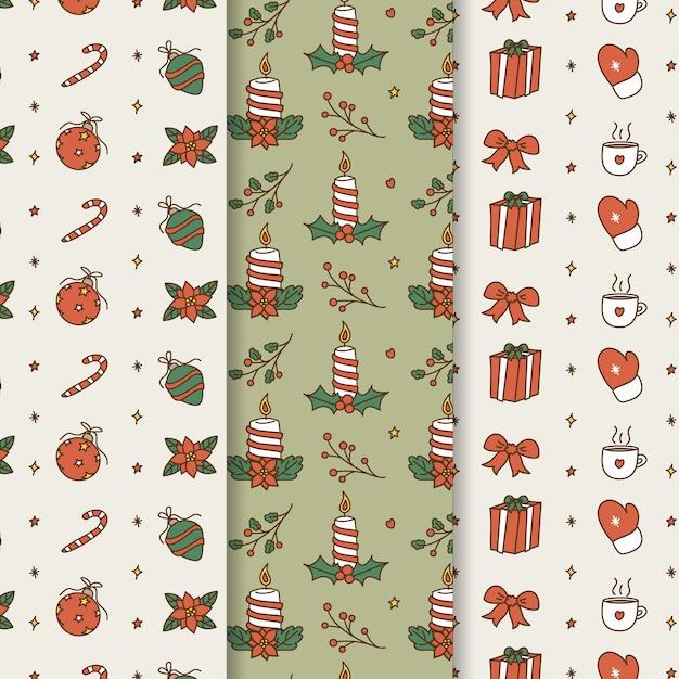 Conjunto de padrão de natal mão desenhada Vetor grátis