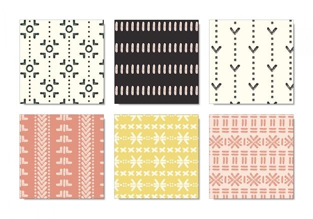 Conjunto de padrão de pano de lama tribal pastel Vetor Premium