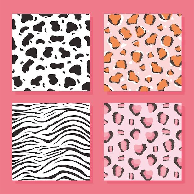 Conjunto de padrão de pele de animal selvagem, ilustração vetorial de fundo rosa Vetor Premium