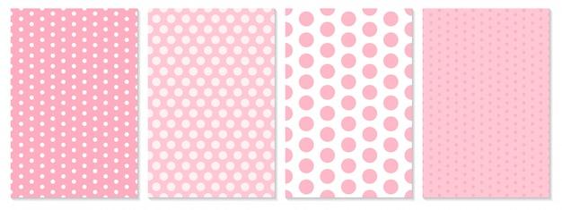 Conjunto de padrão de pontos. fundo do bebê. cor rosa. ilustração. padrão de bolinhas. Vetor Premium