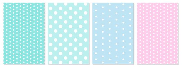 Conjunto de padrão de pontos. fundo do bebê. cores azuis e rosa. padrão de bolinhas. Vetor Premium